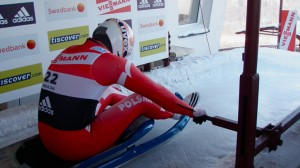 Pole Maciej Kurowski pushes off on his second run to finish in 21st place at the FIL European Luge Championships held this weekend in Sigulda. Photo by Jared Grellet.