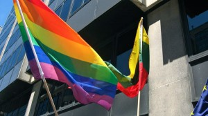 "The issuance of the parade permit for a gay rights march is a first for Lithuania, as previous attempts were denied. Above is an image from a London parade protesting Lithuania's ""protection of minors"" law last summer — a permit to hold a rally in Vilnius was denied."